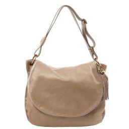 TL Bag Soft leather shoulder bag with tassel detail Light Taupe TL141110