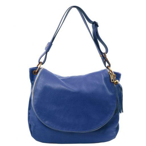 TL Bag Soft leather shoulder bag with tassel detail Blue TL141110