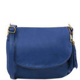 TL Bag Umhängetasche aus weichem Leder mit Quasten Blau TL141223