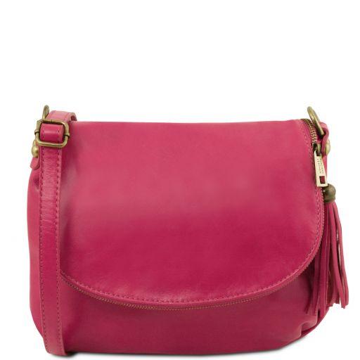 TL Bag Umhängetasche aus weichem Leder mit Quasten Fucsia TL141223