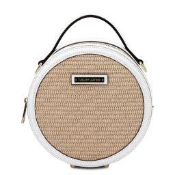 Thelma Runde Tasche mit Stroheffekt Weiß TL142090