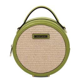 Thelma Straw effect round bag Green TL142090