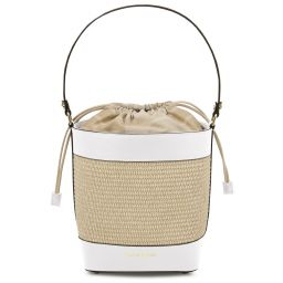 Louise Straw effect bucket bag White TL142091