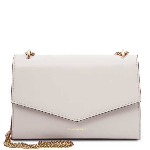 Fortuna Leather clutch with chain strap White TL141944