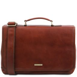 Mantova Leather multi compartment TL SMART briefcase with flap Brown TL142068