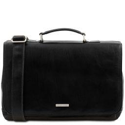 Mantova Leather multi compartment TL SMART briefcase with flap Black TL142068