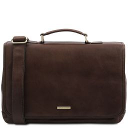 Mantova Leather multi compartment TL SMART briefcase with flap Dark Brown TL142068