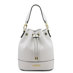 TL Bag Bolso cubo secchiello en piel Blanco TL142083