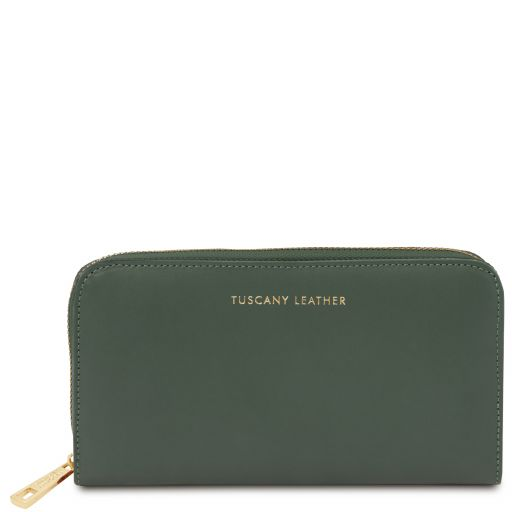 Venere Exclusive leather accordion wallet with zip closure Forest Green TL142085
