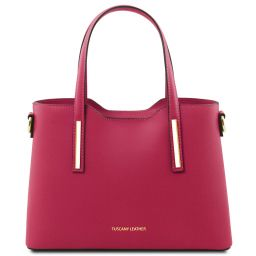 Olimpia Leather tote - Small size Fuchsia TL141521