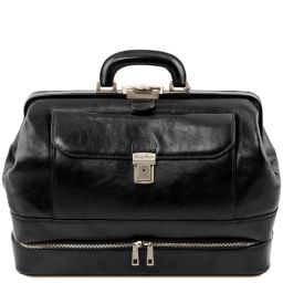 Giotto Exclusive double-bottom leather doctor bag Black TL142071