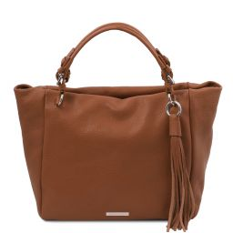 TL Bag Soft leather shopping bag Cognac TL142048