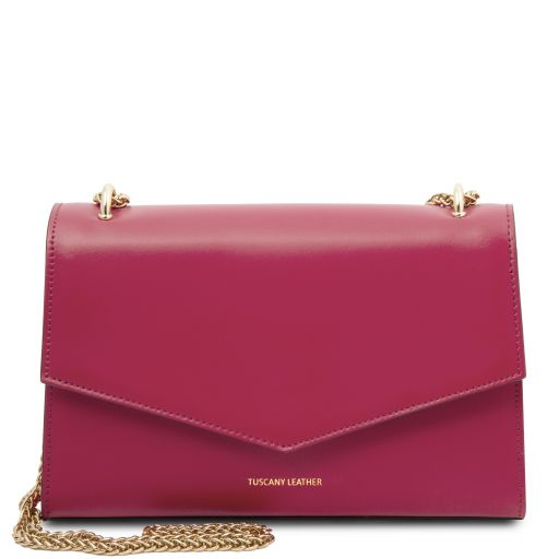 Fortuna Leather clutch with chain strap Fucsia TL141944