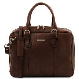 Matera Leather multi compartment briefcase Dark Brown TL142080