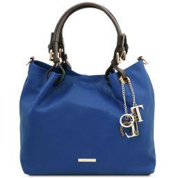 TL KeyLuck Sac shopping en cuir souple Bleu TL141940
