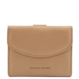 Calliope Elégant portefeuille en cuir pour femme avec 3 volets et porte monnaie Champagne TL142058