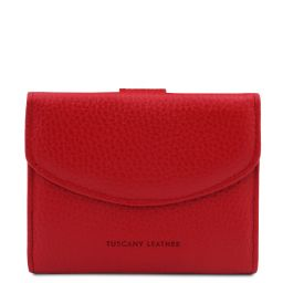 Calliope Exclusive 3 fold leather wallet for women with coin pocket Lipstick Red TL142058