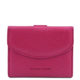 Calliope Elégant portefeuille en cuir pour femme avec 3 volets et porte monnaie Fuchsia TL142058