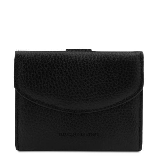 Calliope Elégant portefeuille en cuir pour femme avec 3 volets et porte monnaie Noir TL142058