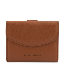 Calliope Esclusivo portafoglio donna in pelle 3 ante con portaspiccioli Cognac TL142058