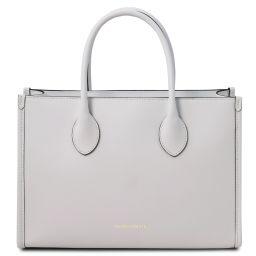 Letizia Shopping Tasche aus Leder Weiß TL142040