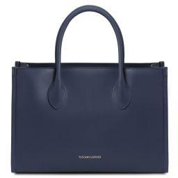 Letizia Leather shopping bag Dark Blue TL142040