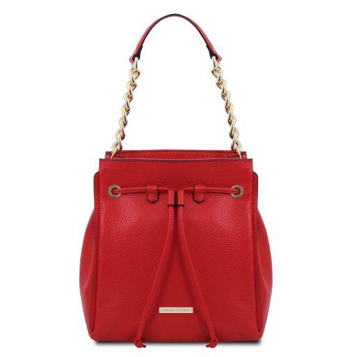 TL Bag Borsa secchiello in pelle morbida Rosso Lipstick TL142134