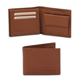 Exclusive soft 3 fold leather wallet for men with coin pocket Cognac TL142074