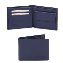 Exclusive soft 3 fold leather wallet for men with coin pocket Dark Blue TL142074