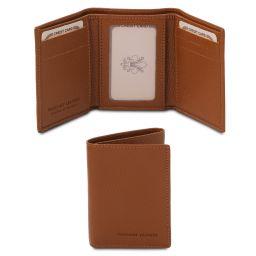 Exclusive soft 3 fold leather wallet Cognac TL142086