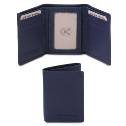 Exclusive soft 3 fold leather wallet Dark Blue TL142086