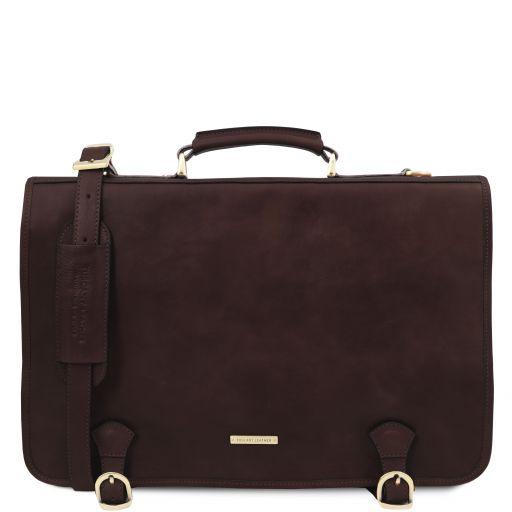 Ancona Leather messenger bag Dark Brown TL142073