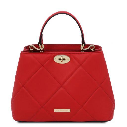 TL Bag Bolso a mano en piel suave acolchado Rojo Lipstick TL142132