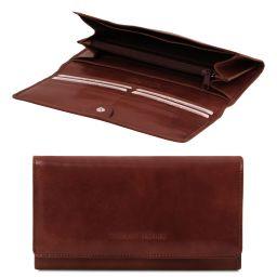 Elégant portefeuille en cuir pour femme avec poches soufflets Marron TL140787