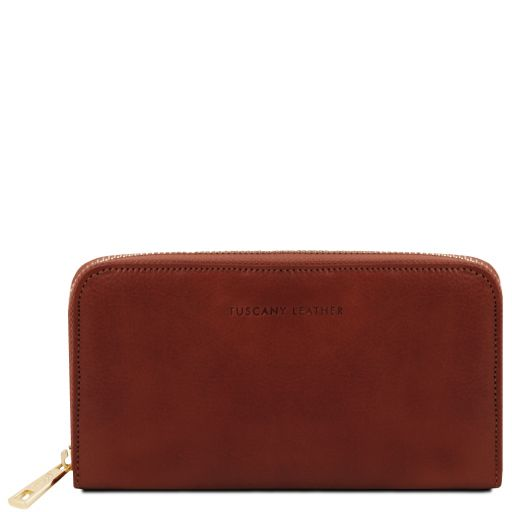 Exclusive leather accordion wallet with zip closure Brown TL141206