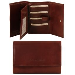 Esclusivo portafogli in pelle da donna 4 ante Marrone TL140796
