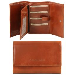 Exclusive 4 fold leather wallet for women Honey TL140796