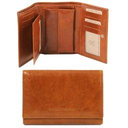 Esclusivo portafogli in pelle da donna 3 ante Miele TL141314