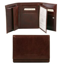 Exclusive leather wallet for women Dark Brown TL140790