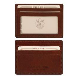 """Эксклюзивный кожаный чехол для карт и визиток с """"окном"""" Коричневый TL140805"""