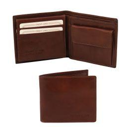 Elegante cartera de señor en piel con monedero Marrón TL141377