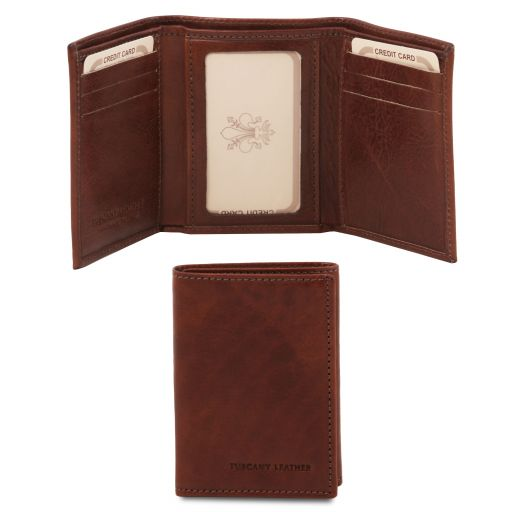 Exclusive 3 fold leather wallet Brown TL140801