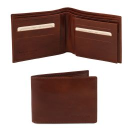 Elegante cartera de señor en piel Marrón TL140817