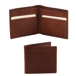Эксклюзивный кожаный бумажник двойного сложения для мужчин Коричневый TL140797