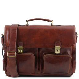 Ventimiglia TL SMART Multifach-Aktentasche aus Leder mit zwei aufgesetzte Taschen Braun TL142069