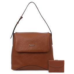 Capri Borsa a spalla in pelle morbida e portafoglio in pelle 3 ante con portaspiccioli Cognac TL142150