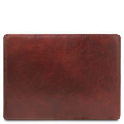 Sous-main de bureau en cuir avec rabat Marron TL142054