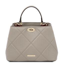 TL Bag Soft quilted leather handbag Grey TL142132