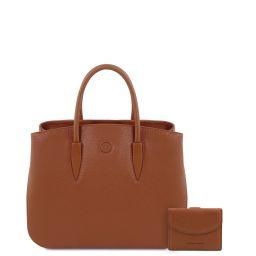 Procida Borsa a mano in pelle e portafoglio in pelle 3 ante con portaspiccioli Cognac TL142151