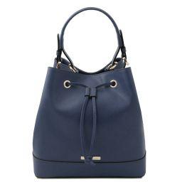 Minerva Leather bucket bag Dark Blue TL142145